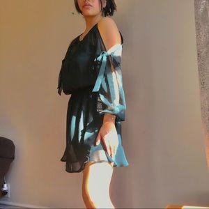 Express green flowy long sleeve dress